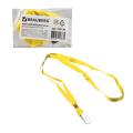 Лента для бейджей BRAUBERG, 45 см, металлический клип, желтая, 235736