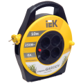 Удлинитель на катушке IEK (ИЕК) GARDEN, ГОСТ Р51539, 4 розетки, 10м, 2х0,75 мм, 1300Вт, б/заземления