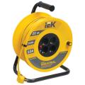 Удлинитель на катушке IEK (ИЕК) INDUSTRIAL, ГОСТ Р51539, 4 розетки, 20м, 3х1мм, 2200Вт, с зазем.