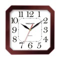Часы настенные TROYKA 31331316 восьмигранник, белые, коричневая рамка, 29х29х3,5см