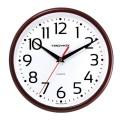 Часы настенные TROYKA 91931912 круг, белые, коричневая рамка, 23х23х4см