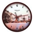 """Часы настенные TROYKA 44031441 круг, белые с рисунком """"Мельница"""", коричневая рамка, 29,5х29,5х5,4см"""