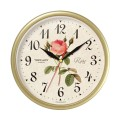 """Часы настенные TROYKA 91971923 круг, с винтажным рисунком """"Roze"""", бежевая рамка, 23х23х4см"""