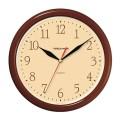 Часы настенные TROYKA 21234287 круг, бежевые, коричневая рамка, 24,5х24,5х3,1см