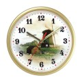 """Часы настенные TROYKA 91971925 круг, белые с рисунком """"Ветряная мельница"""", бежевая рамка, 23х23х4см"""