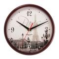 """Часы настенные TROYKA 91931927 круг, с рисунком """"Paris"""", коричневая рамка, 23х23х4см"""