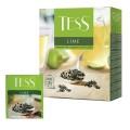 """Чай TESS (Тесс) """"Lime"""", зеленый с цедрой цитрусовых, 100 пакетиков по 1,5 г, 0920-09"""