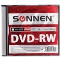 Диск DVD-RW (минус) SONNEN, 4,7 Gb, 4x, Slim Case (1 штука), 512580