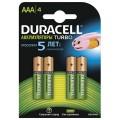 Батареи аккумуляторные DURACELL AAA, Ni-Mh, заряженные, 4 шт., 850 mAh, в блистере, 1,2 В, 81546826