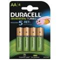Батареи аккумуляторные DURACELL AA, Ni-Mh, заряженные, 4 шт., 2500 mAh, в блистере, 1,2 В, 81472345