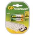 Батарейки аккумуляторные GP, AAA, Ni-Mh, 750 mAh, 2 шт., в блистере, 75AAAHC-2DECRC2