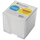 Блок для записей BRAUBERG (БРАУБЕРГ) в подставке прозрачной, куб 9-9х9, 80г/м, белый