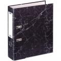 Папка-регистратор OfficeSpace 70мм, мрамор, черная, нижний метал. кант, 251893