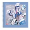 Скетчбук тетрадь для эскизов, белая бумага, 170*170мм, 120 г/м2, 80л, гребень, Кеды, (A255711)