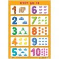 """Плакат настенный А2, Мозаика-Синтез """"Цифры - счет от 1 до 10"""", МС10101"""