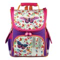 Ранец жесткокаркасный BRAUBERG для начальной школы, девочка, Бабочка в цветах, 34х26х16 см, 226907