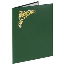 Папка адресная бумвинил с виньеткой, формат А4, зеленая, индивидуальная упаковка, STAFF, 129580