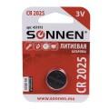 Батарейка SONNEN, CR2025 (таблетка), d=20мм, h=2,5мм, ЛИТИЕВАЯ, 1 шт., в блистере, 3В, 451973