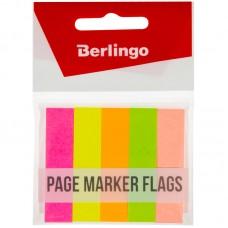 Закладки самоклеящиеся бумажные Berlingo 50*12мм, бумажные, 50л*5 неоновых цветов, европодвес, LSz_50525