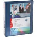 Папка на 4 кольцах с передним прозрачным карманом Berlingo, 65мм, картон/ПВХ, синяя, до 400 л, ABp_46502