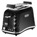 Тостер DELONGHI CTJ2103.BK, 900Вт, 2 тоста, разморозка, подогрев, решетка для булочек, черный