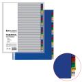 Разделитель пластиковый BRAUBERG А4, 20 листов, алфавитный А-Я, оглавление, Цветной, РОССИЯ