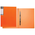 Папка с металлическим скоросшивателем HATBER HD, пластик, Неоново-оранж., до 100 л.,0,9мм, AH4_02035(V160404)