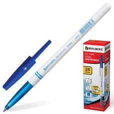 Ручка шариковая BRAUBERG Офисная, корпус белый, узел 1мм, линия письма 0,5мм, синяя, 140662