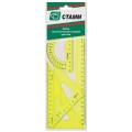"""Набор чертежный средний СТАММ """"Neon Cristal"""" (линейка 20см, 2угольника,транспортир), желт.неон, НГ04"""