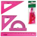"""Набор чертежный средний СТАММ """"Neon Cristal"""" (линейка 20см, 2угольника, транспортир), роз.неон, НГ14"""