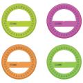 """Транспортир 12 см, 360 градусов, пластик, СТАММ """"Neon Cristal"""", тонированный, неон. ассорти, ТР51"""