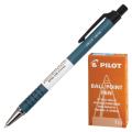Ручка шариковая масляная автоматическая PILOT корпус синий, 0,7мм, линия 0,32мм, синяя, BPRK-10M