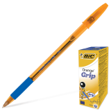 Ручка шариковая BIC Orange Grip, корпус оранжевый, 0,8мм, линия 0,3мм, резиновый упор, синяя, 811926