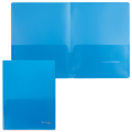 Папка-уголок с 2 карманами BRAUBERG, синяя, 0,18 мм, 224883