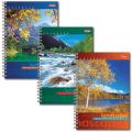 Записная книжка, А6, 105-145 мм, 80 л., «Хатбер», «Пейзажи», евроспираль, обложка лам. картон