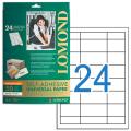 Этикетка самоклеящаяся LOMOND на листе формата А4, 24 этикетки, размер 64,6-33,4 мм, белая, 50 л.