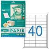 Этикетка самоклеящаяся LOMOND на листе формата А4, 40 этикеток, размер 48,5-25,4 мм, белая, 50 л.