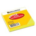 Блок самоклеящийся (стикеры) BRAUBERG НЕОНОВЫЙ 76х76мм, 90 листов, желтый, 122702