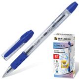 Ручка шариковая BRAUBERG Samurai, корпус прозрачный, 0,7мм, линия 0,35мм, резин.упор, синяя, 141149