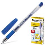 Ручка гелевая BRAUBERG Geller, игольчатый узел 0,5мм, линия 0,35мм, резиновый упор, синяя, 141179