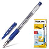 Ручка гелевая BRAUBERG Number One, узел 0,5мм, линия 0,35мм, резиновый упор, синяя, 141193