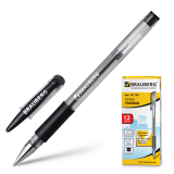 Ручка гелевая BRAUBERG Number One, узел 0,5мм, линия 0,35мм, резиновый упор, черная, 141194