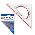 """Треугольник пластик 45*13 см, BRAUBERG """"Сrystal"""", с транспортиром, прозрач. с выдел. шкалой, 210293"""