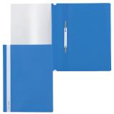 Скоросшиватель пластиковый BRAUBERG, А4, 130/180 мкм, синий, 220385