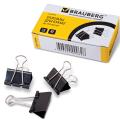 Зажимы для бумаг BRAUBERG (БРАУБЕРГ), комплект 12 шт., 25 мм, на 100 л., черные, в картонной коробке