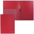 Папка с металлическим скоросшивателем и внутренним карманом BRAUBERG Диагональ, т-красная, до 100 лист, 0,6мм, 221355