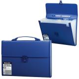 Портфель пластиковый BRAUBERG (БРАУБЕРГ), А4, 332-292-32 мм, 13 отделений, текстура, пластиковый индекс, темно-синий