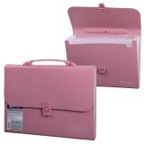 Портфель пластиковый BRAUBERG (БРАУБЕРГ), А4, 327-254-30 мм, 13 отделений, пластиковый индекс, розовый