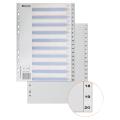 Разделитель пластиковый BRAUBERG (БРАУБЕРГ) для папок А4, цифровой 1-20, с оглавлением