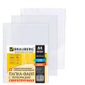 Папки-файлы перфорированные А4+ BRAUBERG, КОМПЛЕКТ 50шт., сверхпрочные, гладкие, 0,110 мм, 222159